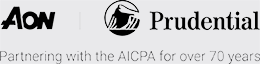 Aon and Prudential partnering with AICPA for over 70 years logo